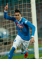 Napoli's Jose Callejon celebrates after scoring during the  italian serie a soccer match,between SSC Napoli and Sassuolo    at  the San  Paolo   stadium in Naples  Italy , January 17, 2016