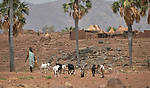 A woman escorts her goats as she walks to fetch water in Lugi, a village in the Nuba Mountains of Sudan. The area is controlled by the Sudan People's Liberation Movement-North, and frequently attacked by the military of Sudan. Hundreds of wells have been drilled in the Nuba Mountains by the Catholic Church, which also sponsors schools and health care facilities throughout the war-torn region.
