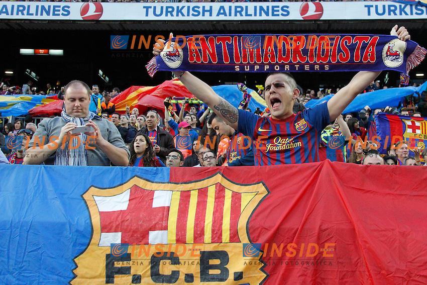 Tifosi Barcellona.Barcellona 21/4/2012 Nou Camp.Football Calcio 2011/2012 La Liga.Barcelona Vs Real Madrid 1-2.Foto Insidefoto / Cesar Cebolla / Alfaqui.ITALY ONLY