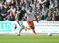Blackpool's Nathan Delfouneso vies for possession with Plymouth Argyle's Joe Riley<br /> <br /> Photographer Kevin Barnes/CameraSport<br /> <br /> The EFL Sky Bet League One - Plymouth Argyle v Blackpool - Saturday 15th September 2018 - Home Park - Plymouth<br /> <br /> World Copyright &copy; 2018 CameraSport. All rights reserved. 43 Linden Ave. Countesthorpe. Leicester. England. LE8 5PG - Tel: +44 (0) 116 277 4147 - admin@camerasport.com - www.camerasport.com