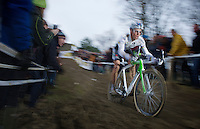 Sven Nys (BEL) attacking the treacherous muddy descent <br /> <br /> GP Sven Nys 2014
