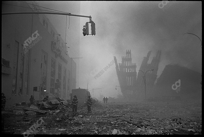 Terrorist attack, destruction of the World Trade Center, New York City, New York, USA, September 11, 2001.