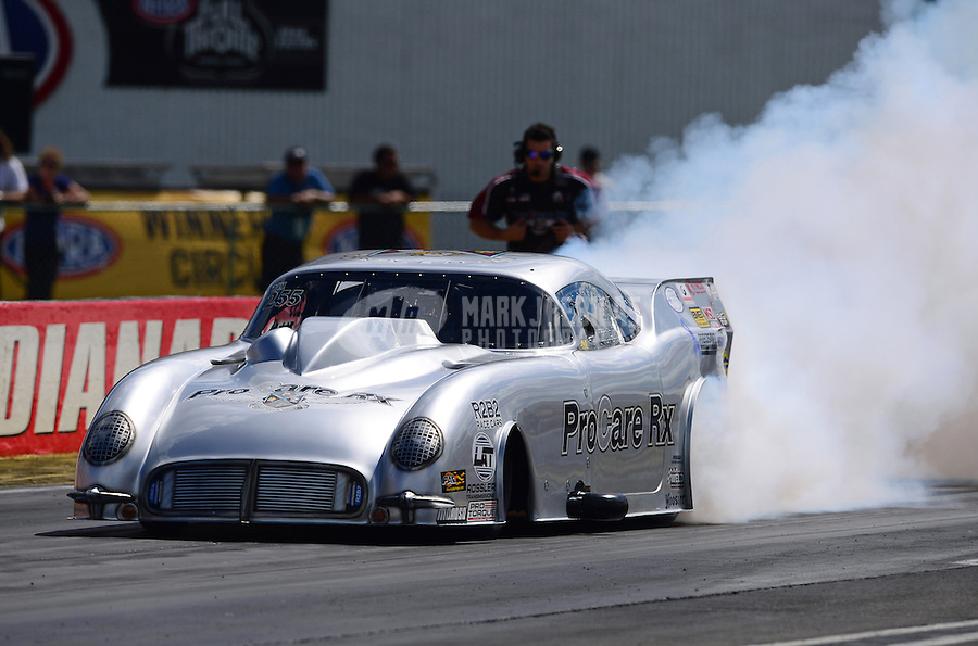 Sept 9, 2012; Clermont, IN, USA: NHRA pro mod driver Brad Brand during the US Nationals at Lucas Oil Raceway. Mandatory Credit: Mark J. Rebilas-