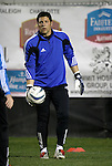 27 March 2004: Wizards goalkeeper Tony Meola during pregame warmups. Los Angeles Galaxy defeated the Kansas City Wizards 1-0 at SAS Stadium in Cary, NC in the final preseason game for both Major League Soccer teams as part of the Cary Pro Kickoff Invitational tournament..