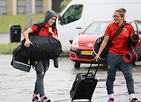 20170725 - TILBURG , NETHERLANDS :  Belgian Janice Cayman (left) and Sara Yuceil pictured going back to Belgium as the Belgian national women's soccer team Red Flames was not able to qualify for the quarter finals after a loss against The Netherlands , on Tuesday 25 July 2017 in Tilburg . The Red Flames finished on 3 th place in Group A at the Women's European Championship 2017 in the Netherlands. PHOTO SPORTPIX.BE | DAVID CATRY
