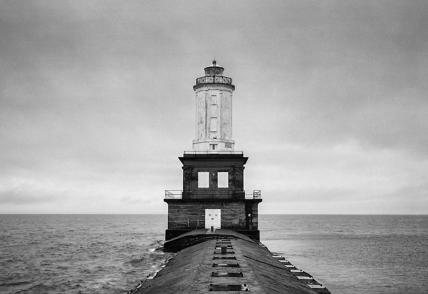 (film) The Lake Superior-worn Portage Lake Lower Entry Light at White City Beach in Jacobsville, MI - Keweenaw Peninsula