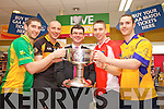 Killian Young, Kieran Donaghy, Jim Garvey, Marc O'Se and Patrick Curtin pictured at the launch of the Kerry Senior Football Championship sponsored by Garveys Supervalu at Garveys Rock Street Tralee on Monday.