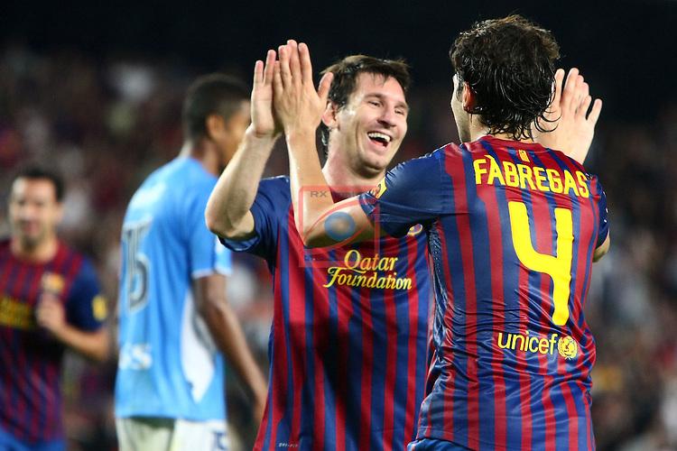 Messi & Fabregas. Celebration goal. FC Barcelona vs Osasuna: 8-0 (League BBVA 2011/12 - Season 4).