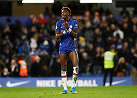 11th January 2020; Stamford Bridge, London, England; English Premier League Football, Chelsea versus Burnley; Tammy Abraham of Chelsea applauding the Chelsea fans after full time - Strictly Editorial Use Only. No use with unauthorized audio, video, data, fixture lists, club/league logos or 'live' services. Online in-match use limited to 120 images, no video emulation. No use in betting, games or single club/league/player publications