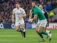Robbie Henshaw in action, England v Ireland in a 6 Nations match at Twickenham Stadium, Whitton Road, Twickenham, England, on 27th February 2016
