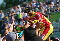 Aug. 3, 2014; Kent, WA, USA; NHRA top fuel dragster driver Antron Brown during the Northwest Nationals at Pacific Raceways. Mandatory Credit: Mark J. Rebilas-
