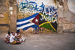 Havana, Cuba: Street scene school yard, Old Havana