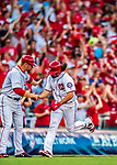 7 October 2017: Washington Nationals third baseman Anthony Rendon rounds third , coming home to score with a solo home run in the first inning of the second NLDS game against the Chicago Cubs at Nationals Park in Washington, DC. The Nationals defeated the Cubs 6-3 and even their best of five Postseason series at one game apiece. Mandatory Credit: Ed Wolfstein Photo *** RAW (NEF) Image File Available ***