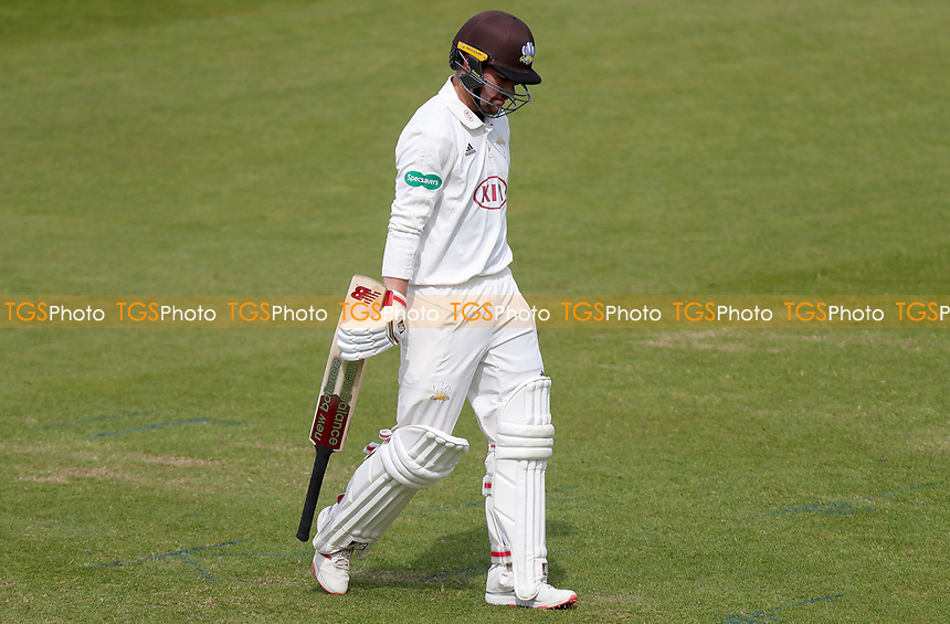 Rory Burns of Surrey leaves the field having been caught on 98 runs during Surrey CCC vs Essex CCC, Specsavers County Championship Division 1 Cricket at the Kia Oval on 14th April 2019