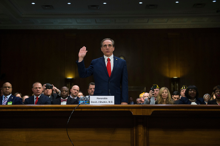 UNITED STATES - FEBRUARY 01: David Shulkin, nominee for Veterans Affairs secretary, is sworn in to his Senate Veterans' Affairs Committee confirmation hearing in Dirksen Building, February 1, 2017. (Photo By Tom Williams/CQ Roll Call)