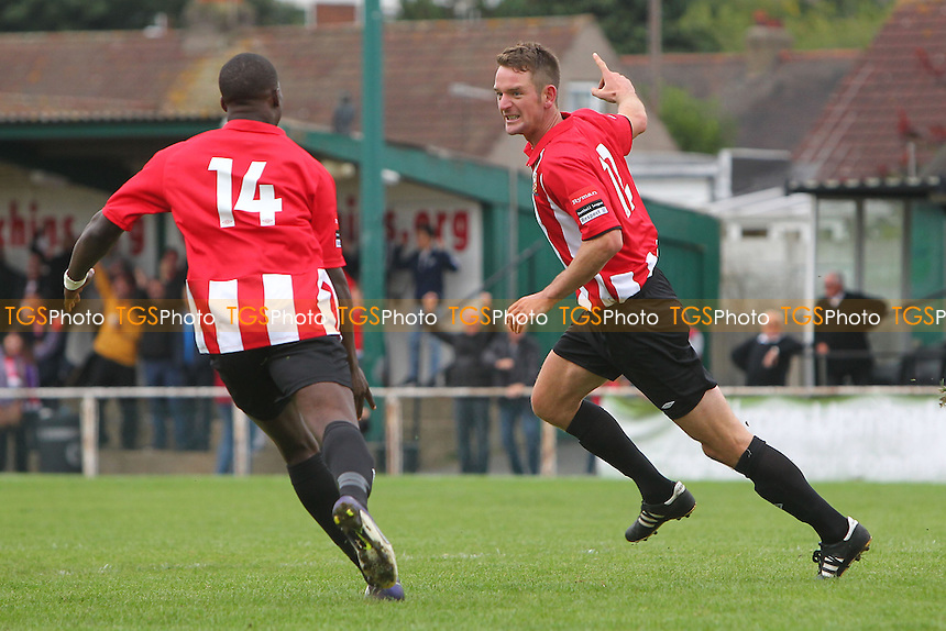 Carl Rook (R) celebrates scoring the equalising goal for Hornchurch - Grays Athletic vs Romford - FA Cup 1st Qualifying Round Football at Mill Field, Aveley FC - 14/09/13 - MANDATORY CREDIT: Gavin Ellis/TGSPHOTO - Self billing applies where appropriate - 0845 094 6026 - contact@tgsphoto.co.uk - NO UNPAID USE