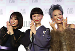 """November 11, 2018, Tokyo, Japan - (L-R) Japanese actor and actresses Yuna Taira, Mao Daichi and Peter (Shinnosuke Ikehata) pose for photo as they received the """"Nail Queen Award 2018"""" at the annual Tokyo Nail Expo in Tokyo on Sunday, November 11, 2018.    (Photo by Yoshio Tsunoda/AFLO) LWX -ytd-"""