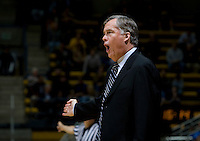 California head coach Mike Montgomery argues with the referee about a bad call during the game against SJSU at Haas Pavilion in Berkeley, California on December 7th, 2011.   California defeated San Jose State, 81-62.