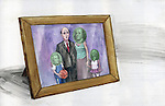 Illustration of photo frame representing man giving importance to money rather than family