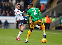Bolton Wanderers' Craig Noone competing with Preston North End's Darnell Fisher  <br /> <br /> Photographer Andrew Kearns/CameraSport<br /> <br /> The EFL Sky Bet Championship - Bolton Wanderers v Preston North End - Saturday 9th February 2019 - University of Bolton Stadium - Bolton<br /> <br /> World Copyright &copy; 2019 CameraSport. All rights reserved. 43 Linden Ave. Countesthorpe. Leicester. England. LE8 5PG - Tel: +44 (0) 116 277 4147 - admin@camerasport.com - www.camerasport.com