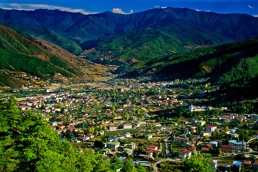 Overview of Thimphu, Bhutan