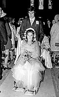 Wedding of Abercorn Restaurant bomb victim, Rosaleen McNern, pictured with her husband, Brendan Murrin, from Killybegs, Co Donegal, Rep of Ireland. They were married in Belfast 4th August 1972. 19720804028d<br />