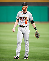 Colin Moran (8) of the Fresno Grizzlies before the game against the Salt Lake Bees in Pacific Coast League action at Smith's Ballpark on April 17, 2017 in Salt Lake City, Utah. The Bees defeated the Grizzlies 6-2. (Stephen Smith/Four Seam Images)