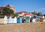 Spa Pavilion seafront with beach huts, Felixstowe, Suffolk, England