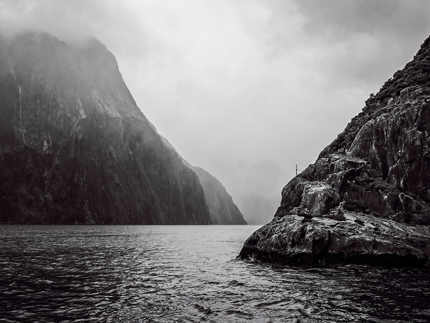 Milford Sound on a cloudy, foggy afternoon