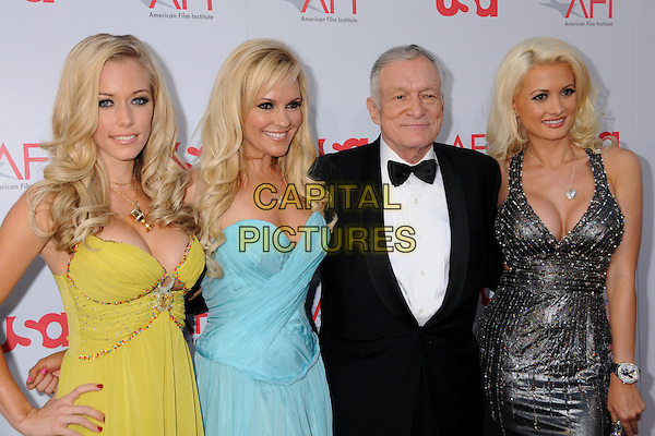 BRIDGET MARQUARDT, HUGH HEFNER, HOLLY MADISON & KENDRA WILKINSON.36th Annual AFI Life Achievement Award at the Kodak Theatre, Hollywood, California, USA,.12 June 2008 .half length profiles playboy ray bans sunglasses blue yellow silver grey bow tie tux.CAP/ADM/BP.©Byron Purvis/Admedia/Capital PIctures