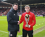 Marcus Dewhurst is presented with the most promising new comer trophy during the championship match at the Bramall Lane Stadium, Sheffield. Picture date 28th April 2018. Picture credit should read: Simon Bellis/Sportimage