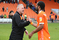 Blackpool's Manager Terry McPhillips with Blackpool's Nathan Delfouneso<br /> <br /> Photographer Rachel Holborn/CameraSport<br /> <br /> The EFL Sky Bet League One - Blackpool v Bradford City - Saturday September 8th 2018 - Bloomfield Road - Blackpool<br /> <br /> World Copyright &copy; 2018 CameraSport. All rights reserved. 43 Linden Ave. Countesthorpe. Leicester. England. LE8 5PG - Tel: +44 (0) 116 277 4147 - admin@camerasport.com - www.camerasport.com