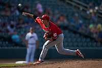 Carolina Mudcats starting pitcher Noah Zavolas (38) delivers a pitch to the plate against the Winston-Salem Dash at BB&T Ballpark on June 1, 2019 in Winston-Salem, North Carolina. The Mudcats defeated the Dash 6-3 in game one of a double header. (Brian Westerholt/Four Seam Images)