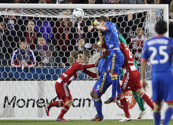 Frisco, TX - MARCH 2: Raul Fernandez #1 of FC Dallas block a shot against Colorado Rapids at FC Dallas Stadium on March 2, 2013 in Frisco, Texas. (Photo by Rick Yeatts)