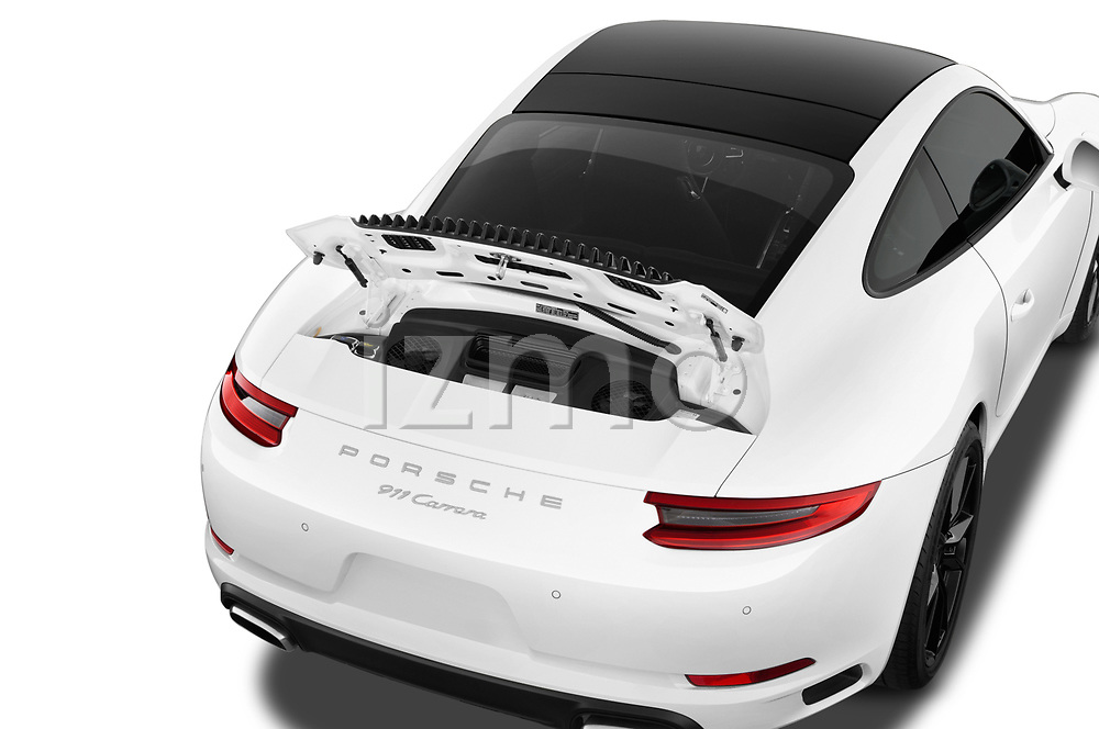 Car stock 2018 Porsche 911 Carrera 2 Door Coupe engine high angle detail view
