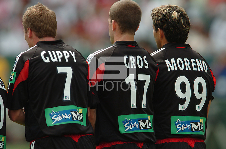 D.C. United's Steve Guppy, Joshua Gros, and Jaime Moreno at the Home Depot Center, in Carson, California, Saturday, April 2, 2005.