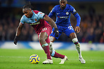 Michail Antonio of West Ham United is challenged by Fikayo Tomori of Chelsea during the Premier League match at Stamford Bridge, London. Picture date: 30th November 2019. Picture credit should read: Robin Parker/Sportimage