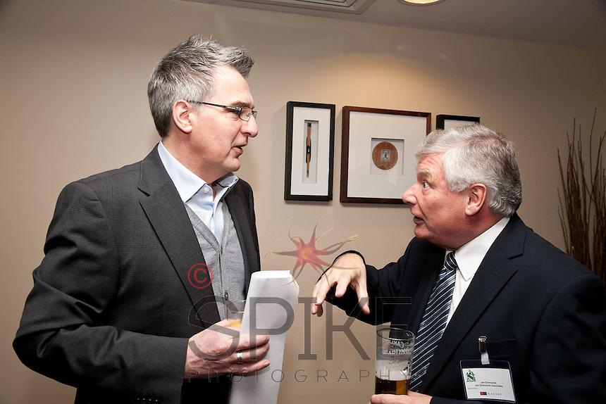 Alan Boyden of Freestyle (left) listens carefully to Len Simmonds of Len Simmonds Associates