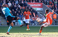 Blackpool's Viv Solomon-Otabor scores his sides first goal  <br /> <br /> Photographer Mick Walker/CameraSport<br /> <br /> The EFL Sky Bet League One - Blackpool v Fleetwood Town - Saturday 14th April 2018 - Bloomfield Road - Blackpool<br /> <br /> World Copyright &copy; 2018 CameraSport. All rights reserved. 43 Linden Ave. Countesthorpe. Leicester. England. LE8 5PG - Tel: +44 (0) 116 277 4147 - admin@camerasport.com - www.camerasport.com