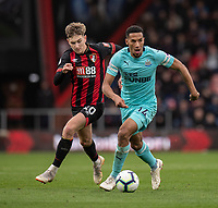 Bournemouth's David Brooks (left) battles with Newcastle United's Isaac Hayden (right) <br /> <br /> Photographer David Horton/CameraSport<br /> <br /> The Premier League - Bournemouth v Newcastle United - Saturday 16th March 2019 - Vitality Stadium - Bournemouth<br /> <br /> World Copyright © 2019 CameraSport. All rights reserved. 43 Linden Ave. Countesthorpe. Leicester. England. LE8 5PG - Tel: +44 (0) 116 277 4147 - admin@camerasport.com - www.camerasport.com