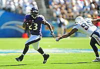 Sep. 20, 2009; San Diego, CA, USA; Baltimore Ravens running back (23) Willis McGahee runs the ball in the first quarter against the San Diego Chargers at Qualcomm Stadium in San Diego. Mandatory Credit: Mark J. Rebilas-