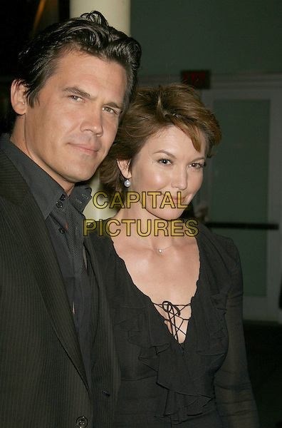 "JOSH BROLIN & DIANE LANE.""In The Valley Of Elah"" Premiere held at The Arclight Cinemas, Hollywood, California, USA..September 13th, 2007.half length black married husband wife grey gray ruffles suit jacket pinstripe .CAP/ADM/RE.©Russ Elliot/AdMedia/Capital Pictures."