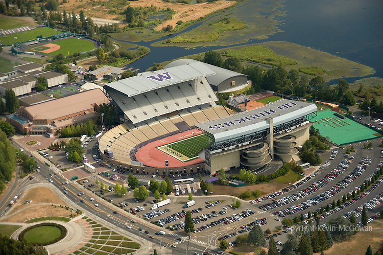 Aerial of Husky Stadium at University of Washington Seattle