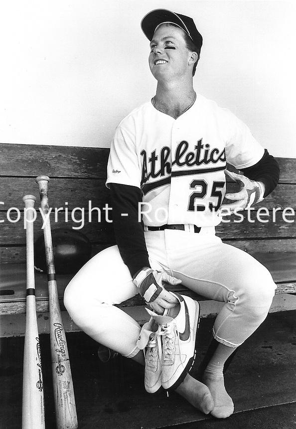 Oakland A's slugger Mark McGuire.Ron Riestere