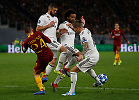 Karim Benzema of Real Madrid  and Marcelo of Real Madrid  during the Champions League Group  soccer match between AS Roma - Real Madrid  at the Stadio Olimpico in Rome Italy 27 November 2018