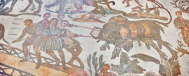 captured wild animal from the Ambulatory of The Great Hunt, room no 28,  at the Villa Romana del Casale which containis the richest, largest and most complex collection of Roman mosaics in the world. Constructed in the first quarter of the 4th century AD. Sicily, Italy. A UNESCO World Heritage Site.