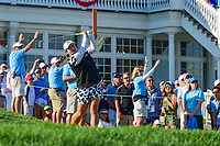 Shanshan Feng (CHN) watches her tee shot on 16 during Sunday's final round of the 72nd U.S. Women's Open Championship, at Trump National Golf Club, Bedminster, New Jersey. 7/16/2017.<br /> Picture: Golffile | Ken Murray<br /> <br /> <br /> All photo usage must carry mandatory copyright credit (&copy; Golffile | Ken Murray)