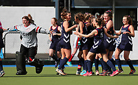 Christchurch Girls High celebrate defeating St Margarets College. Federation Cup Hockey semi-final, Lloyd Elsmore Park, Auckland, New Zealand, Friday 6 September 2019. Photo: Simon Watts/www.bwmedia.co.nz/HockeyNZ