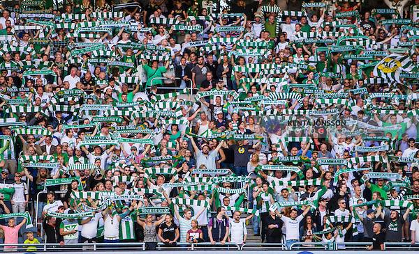 Stockholm 2014-06-08 Fotboll Superettan Hammarby IF - Landskrona BoIS  :  <br /> Hammarbys spelare med halsdukar<br /> (Foto: Kenta J&ouml;nsson) Nyckelord:  Superettan Tele2 Arena Hammarby HIF Bajen Landskrona BoIS supporter fans publik supporters
