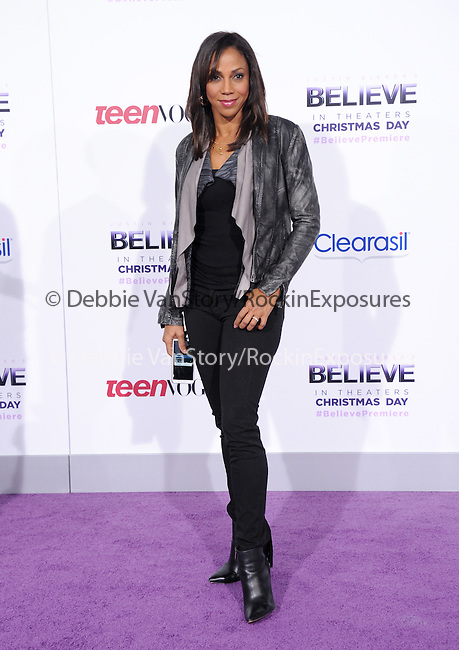 LOS ANGELES, CA - December 18: Holly Robinson Peete arrives at Justin Bieber`s Believe World Premiere held at The Premiere House at Regal Cinemas L.A. Live in Los Angeles, California on December 18,2013                                                                               © 2013 Hollywood Press Agency